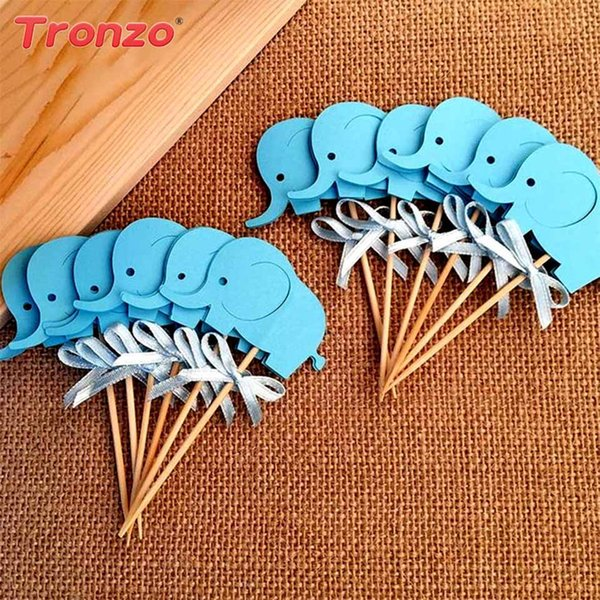 Tronzo Elephant Cupcake Toppers Baby Shower Boy Girl 10pcs Cute Gold Pink Elephant Cake Toppers Birthday Party Decorations Kids