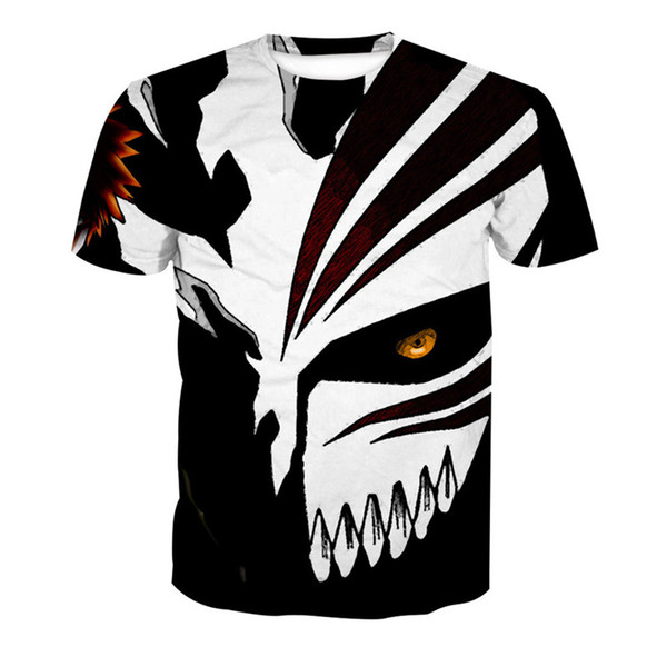Wholesale Free Shipping New Design 3D Fire Skull Mask Printed Men Women Streetwear T shirt Tees Clothing 6XL