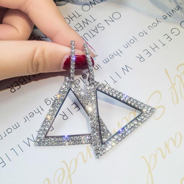 S925 silver needle fashion exaggerated crystal earrings explosion models personality geometric triangle diamond earrings Korean jewelry fema
