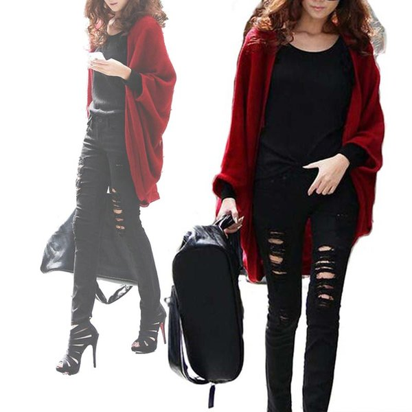 2016 Winter Autumn Fashion Loose Solid Batwing Sleeves Knitting Cardigans Sweaters Coats For Women V Neck knitted Capes Shawls