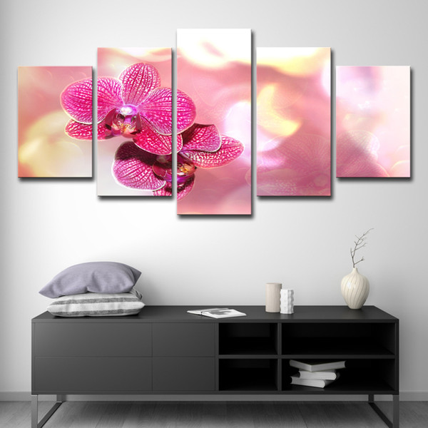 Canvas Prints Poster Hotel Room Decor Pictures 5 Pieces Beautiful Moth Orchid Flower Painting For Living Room Wall Art