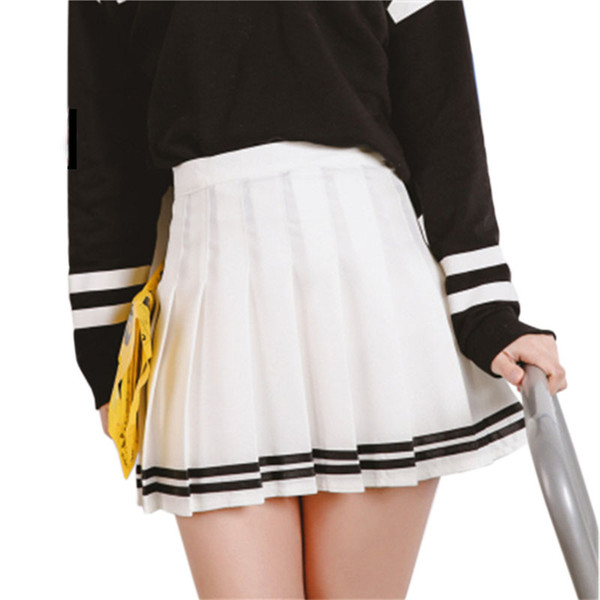 zhusa / Drop ship cintura alta bola saias plissadas Harajuku Mori meninas listra a-line marinheiro Saia de verão Cosplay japonês escola uniforme