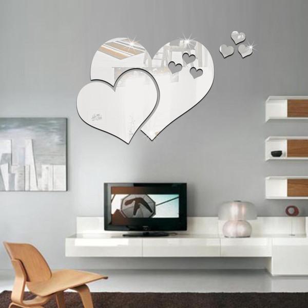 1 Set 3D Mirror Love Hearts Wall Sticker Decal DIY Home Room Art Mural Decor Removable Mirror Wall Sticker