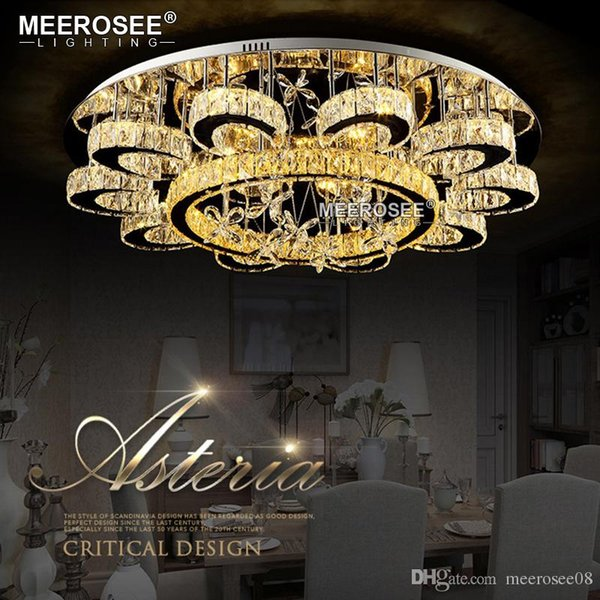 Luxury Flower Shape Chandeliers Crystal Lamp Ceiling Fixtures Round lustre Living Room Hotel Lights LED Lamps Flush Mounted
