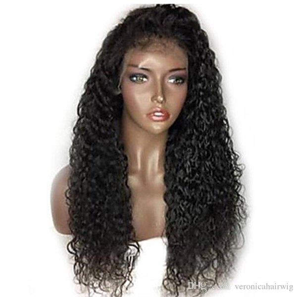 Fast Shipping Natural Black Long Kinky Curly Wigs with Baby Hair Heat Resistant Gluelese Synthetic Lace Front Wigs for Black Women