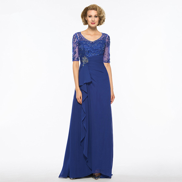 2018 Elegant Royal Blue Long Mother Of The Bride Dress A Line 1/2Sleeves V Neck Lace Chiffon Custom Wedding Party Mother Dress