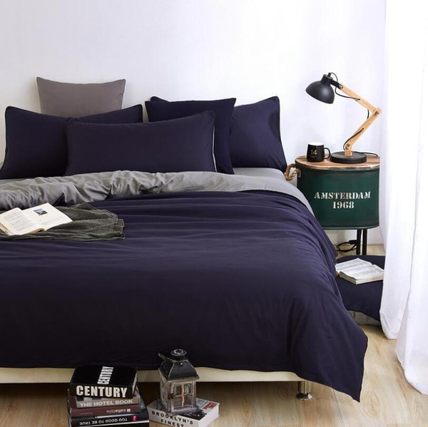Ensembles de literie de mode couleur unie 3 / 4pcs famille ensemble comprennent drap de lit housse de couette taie d'oreiller adultes chambre décoration couvre-lit