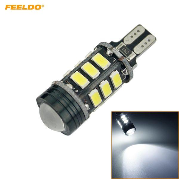 FEELDO 2PCS T15 5730SMD 15LED + 1.5W 9W Wedge Car LED Light Canbus No-Error LED Bulbs With Lens White #2256