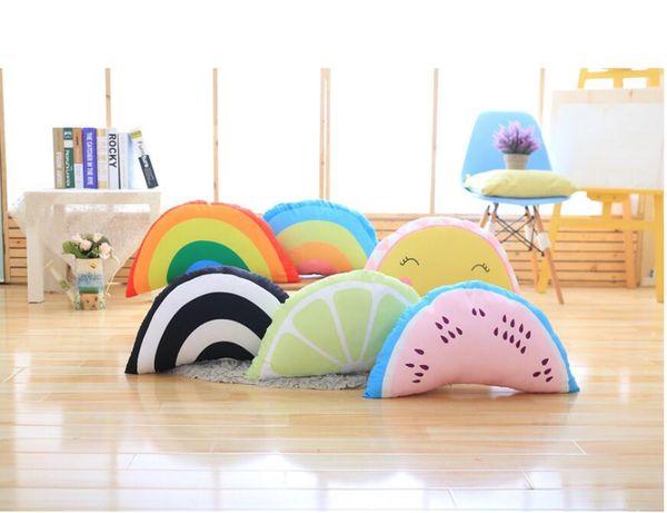 Sicircle Rainbow Smiling Face Throw Pillow Cojín de sofá de frutas de verano con cremallera Almohada de soporte lumbar extraíble y lavable