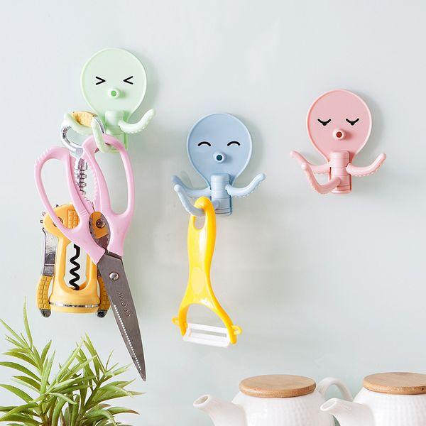3Pcs/Lot Creative Cartoon Octopus Strong Adhesive Hooks Multi-function Kitchen Bathroom Wall Hanging Door Holder Seamless Racks