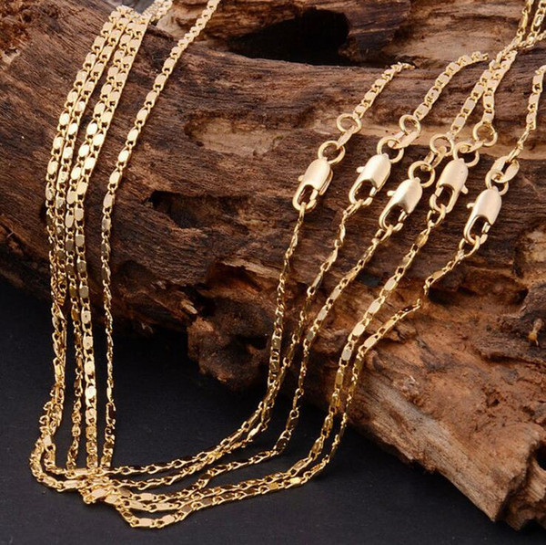 Bulk Wholesale Lots 10 pcs 2mm 18KGF Stamped Gold Color Fashion Women's Italian Flat Chains Necklace for Pendant 16-30