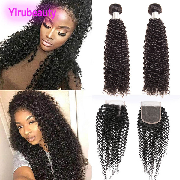 Peruvian Human Hair Afro Kinky Curly Natural Color 9A 2 Bundles With Lace Closure Free Part 4X4 Lace Closure With Bundles Kinky Curly