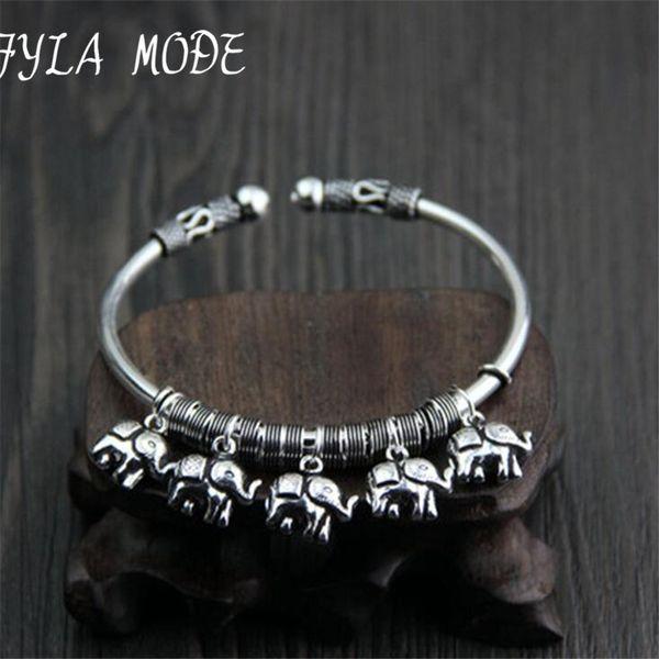 925 Sterling Silver Bracelets For Women Bohemia 5 Elephants Charm Bracelets & Bangles Boho Vintage Thai Silver Jewelry Femme