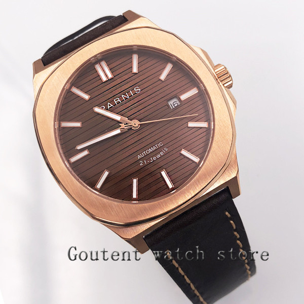 45mm coffee Dial miyota 821A Sapphire Glass Automatic Movement mens watch date day windows