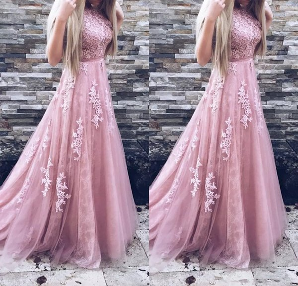Long Lace Prom Dresses A Line Appliques Sleeveless Blush Pink Tulle Formal Evening Dresses Party Gowns With Belt Prom Gowns