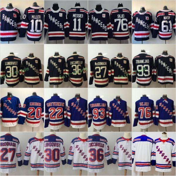 5f66ca6f0 2018 Winter Classic Hockey Jersey New York Rangers 30 Henrik Lundqvist 27  Ryan McDonagh 36 Mats Zuccarello 61 Rick Nash 11 Mark Messier blue