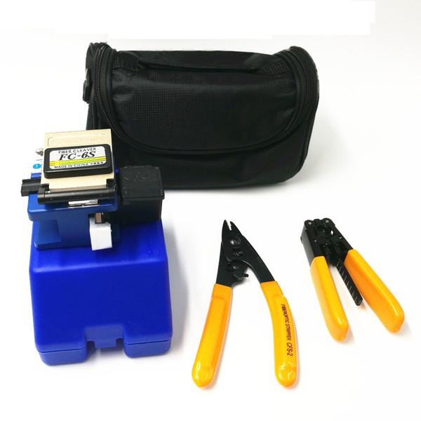 4 in 1 FC-6S Optical Fiber Cleaver With waste fiber box+FTTH cold tool Clauss + flex wire stripper Fibre stripping