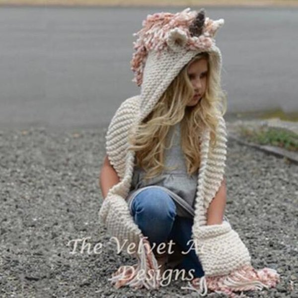 Thick Winter Kids Unicorn Hat Tassel Cloak Cape Knitting scarf Hoodie Cap Gloves Mittens Beanie Tassels Crochet Boy Girls Chirtsmas Gifts