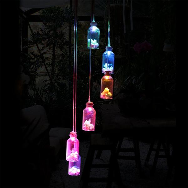 Campanelli eolici solari LED luce che cambia colore 6 Leds Appeso bottiglia decorazione impermeabile per finestra Party Garden H376