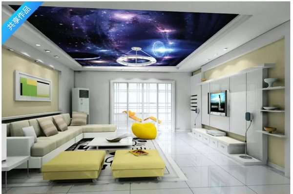 Custom 3D Photo Ceiling Wallpaper Fantasy cosmic sky ceiling mural wall papers home Interior Decor Living Room Ceiling Lobby Mural Wall