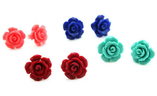 Довольно 4 пара 10 мм розовый / красный /синий /зеленый коралловый цветок розы серебряные серьги
