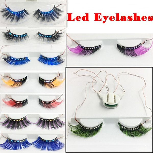 3D Led Light False Eyelashes LED Full Strip Glowing False Eyelashes Waterproof for Dance Concert Christmas Halloween Nightclub Party