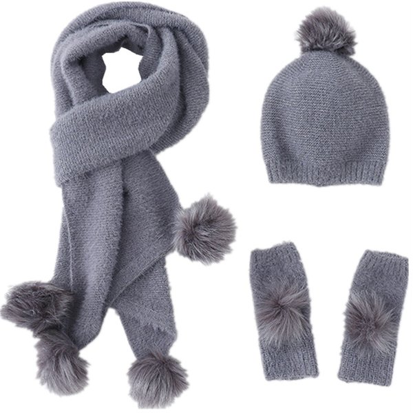 New 2017 Women Winter Hat Scarf Gloves 3pc Set High Quality Cashmere Fur Pompom Hat Female Warm Cashmere Knitted Scarves Set