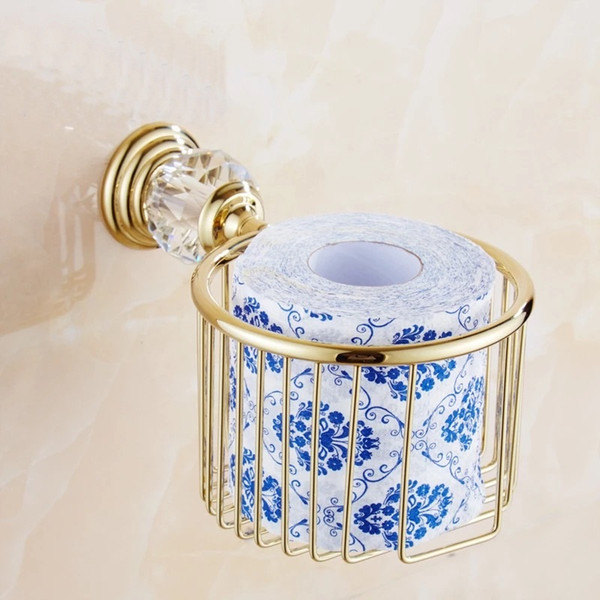 Paper Holders Gold Crystal Wall Mounted Bathroom Accessories Toilet Paper Holders Black Bathroom WC Basket Tissue Holder