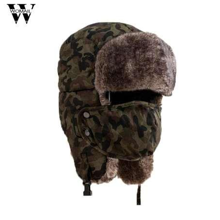 Soft Waterproof Unisex Camouflage Winter Hat Wind Mask Cold-proof Rimq Outdoor Several Wear Methods Hat Warm Cap