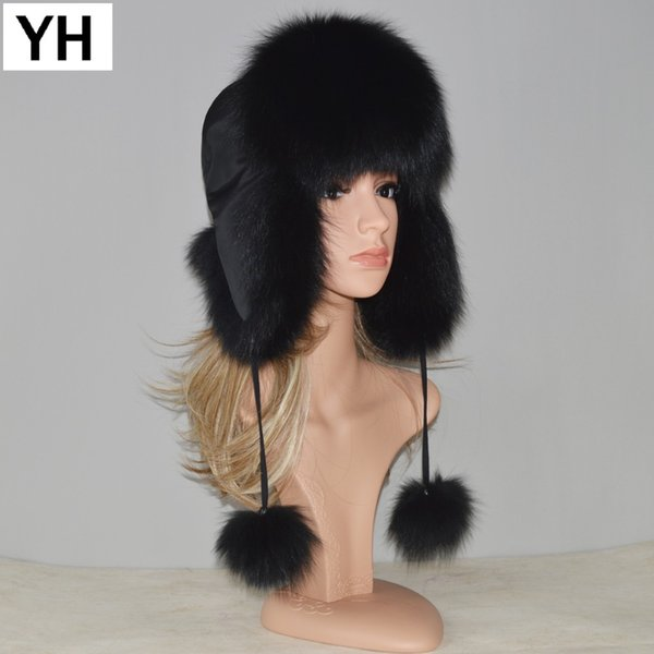New Style Winter Genuine Real Fox Fur Hat Women 100% Natural Real Fox Fur Cap 2018 Quality Warm Russia Real Fox Fur Bomber Caps D18103006