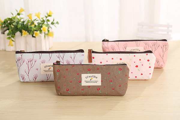 Canvas Bleistift Taschen pastoralen floral Reißverschluss Federmäppchen Kosmetik kleine Make-up Werkzeugtasche Münztasche für Studenten Schreibwaren