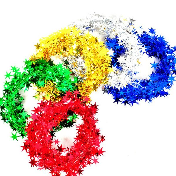 5M Garland Christmas Decoration Christmas Tree Hanging Star Pine Tinsel Garland Decoration Ornament