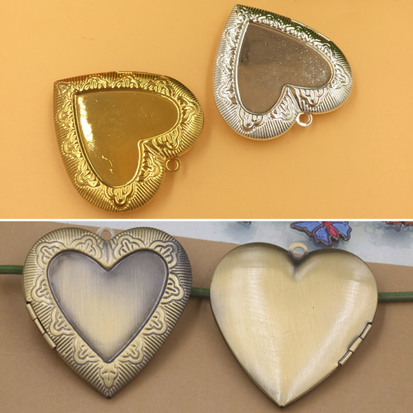 10pcs 40*41*8mm Bohemian Antique bronze silver gold photo locket pendants for necklace vintage picture frame charm pendant wish box jewelry