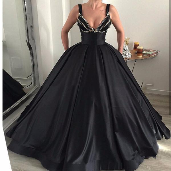 Black Wedding Dresses Ball Gown Spaghetti Sweetheart Backless Sleeveless Floor Length Satin Beads Floor Length Vestido de novia Bridal Gowns
