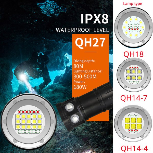 LED dive Flashlight 18000LM multifunction diving white red blue light flashlight 3modes IPX8 waterproof Underwater 80m Torch