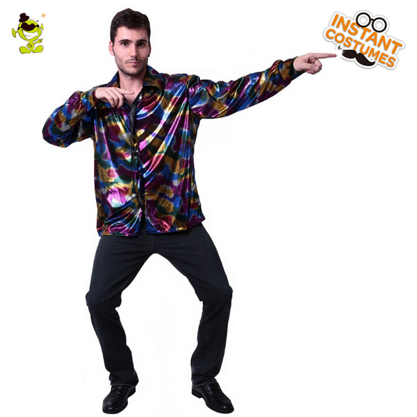 Mens Popular Disco Costume Adult 70s ~80s Funny Halloween Hippie Cosplay Party Fancy Dress With Deluxe Shirt