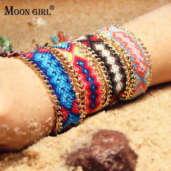 MOON GIRL Trendy Bohemian Handmade Charms Bracelet Femme Vintage Yoga Boho Weave Wrap Bracelets for Women Chic Dropship Jewelry