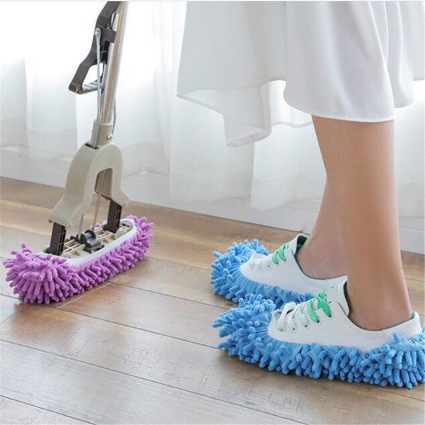 1 par de Zapatillas de microfibra Mop Floor Slipper Cleaning Lazy slipper Home cleaning Tools 5 colores Fuzzy Shoes