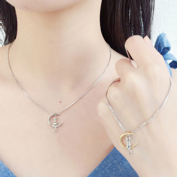 100pcs DHL Free Ship Delicate Kolye Pendant Necklace Curved Crescent Moon Necklace Gold Silver Women Necklace Ladies Jewelry Birthday Gift