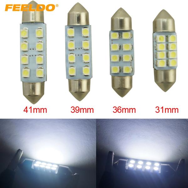 FEELDO 50PCS Blanco 31mm / 36mm / 39mm / 41mm 1210/3528 8SMD Interior del coche Luz Festoon Dome Bombilla LED # 1524