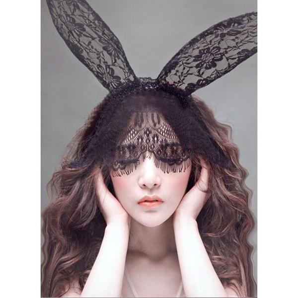 Cosplay Face Eye Lace Veil Mask Headband rabbit bunny long ear hairband Halloween Christmas party fancy dress ball Masquerade props
