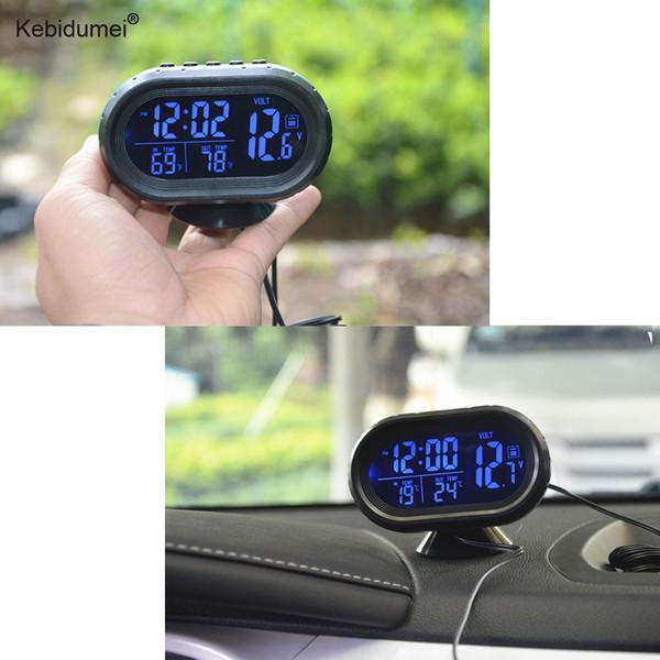 Sikeo Automóvel Relógio Termômetro Digital Car Bateria Do Carro Voltímetro Monitor de Tensão Medidor Tester Noctilucou Relógio 12/24 V