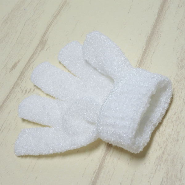 100 pçs / lote Nylon Corpo Branco Luvas de Banho de Limpeza Esfoliante Bath Luva Cinco Dedos Luvas de Banho Banho Casa Suprimentos