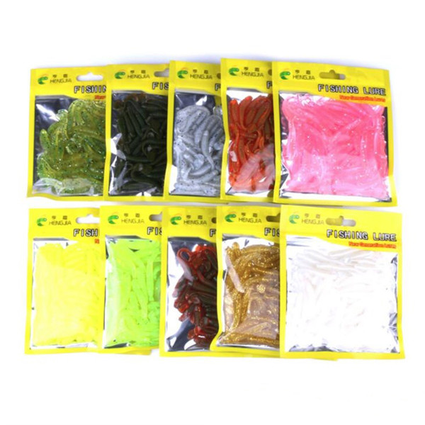 2 Bags Fake Bait Soft Floating T Fish Bionic Isca Artificial Fishing Lure Fly Fishing Silicone Bait Worms Shad Bass