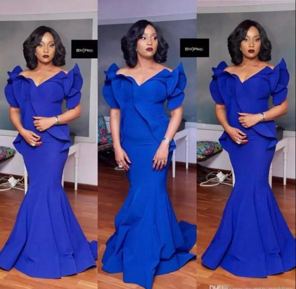 2018 Black Girls Royal Blue Mermaid Prom Dresses Plus Size South African Satin Cheap Evening Gowns Formal Party Dress