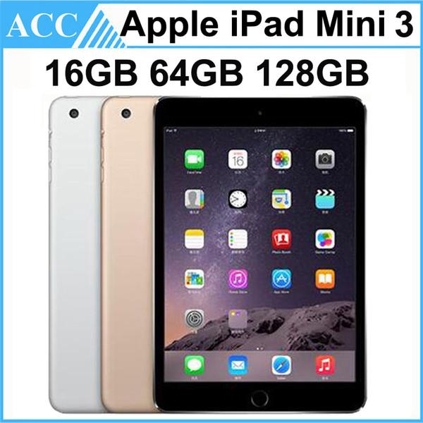 top popular Refurbished Original Apple iPad Mini 3 WIFI Version 16GB 64GB 128GB 7.9 inch Retina Display IOS Dual Core A7 Chipset Tablet PC Free DHL 1pcs 2019