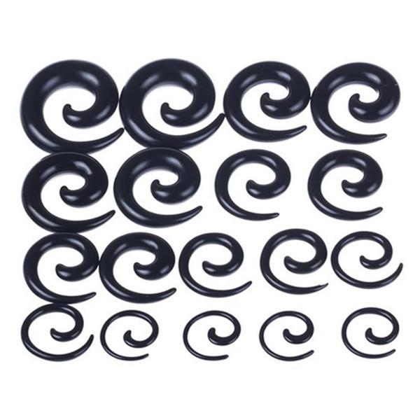 Großhandel Acryl Ohr Spirale Verjüngungen Stretching Stecker Messgeräte Piercing Schmuck Schwarz 1,6 mm-12 mm 100 stücke