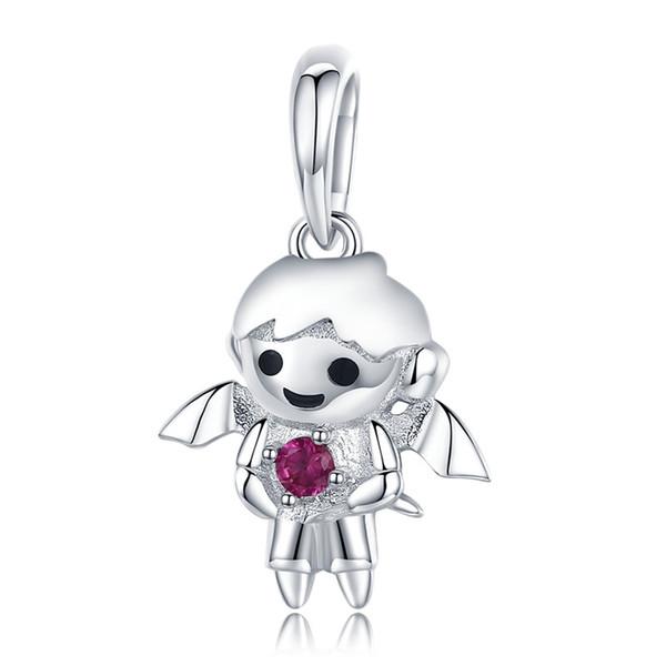 925 Sterling Silver Little Devil Boy & Angel Girl Charm fit Charm Bracelets & Necklaces DIY Jewelry kids Gift