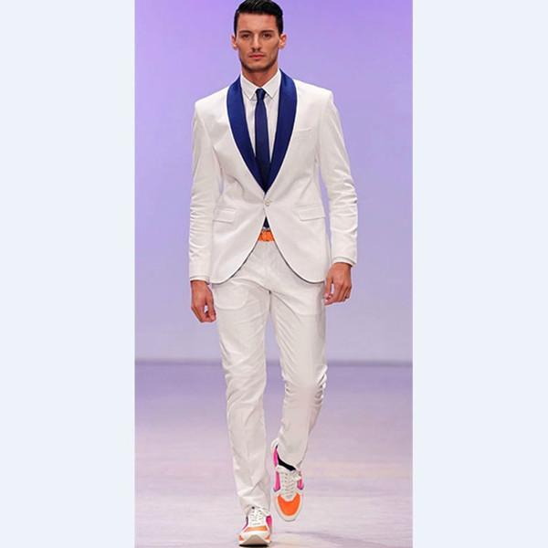 Custom Made Tailored Made Groomsmen Shawl Royal Blue Groom Tuxedos Ivory Men Suits Wedding Masculino Vestidos(Jacket+Pants)