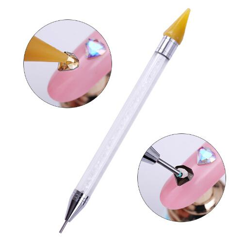 Wholesale Hot Selling Dual-ended Dotting Pen Rhinestone Studs Picker Wax Pencil Crystal Beads Handle Nail Art Tool Free Shipping